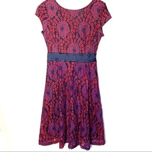 Red and Purple Lace fit and flare girly dress